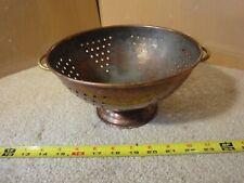 "Vintage Copper colander bowl, strainer. Heavy patina, brass handles, 8-1/2"" dia."