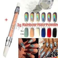 3g Rainbow Holographic Laser Powder Nail Glitter Chrome Pigments + Nail Pen Set