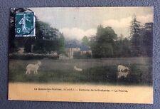 CPA. LA QUEUE LEZ YVELINES. 78 - Domaine de la Couharde. Prairie. Chèvres. 1912.