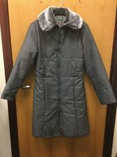 Vintage 90's United Colors Of Benetton Grey Smart Quilted Long Coat UK S