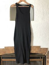 French Connection Tommy Rib Dress Large Black Ribbed Knit Midi Bodycon Stretch