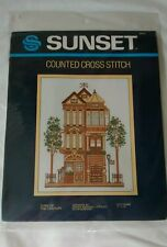 SUNSET Counted Cross Stitch Kit Turn of the Century Victorian House Vintage