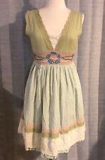 Pura Vida Sage Green Embroidered Flower Stripe Sleeveless Dress Size 6 NWT