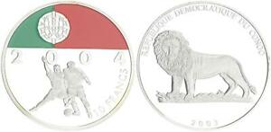 2003 Kongo 10 Francs Fußball Coloriert Portugal PP in Kapsel 41553
