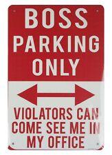 Us Seller, Boss Parking Only tin metal sign home garden wall plaque wall decor