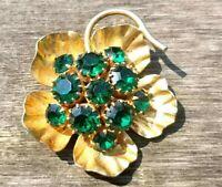 vintage brooch flower pin green stones jewelry for women