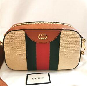 Authentic Gucci Beige GG Vintage Canvas Bag - Brand New