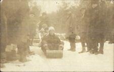 Toboggan Sled Sledding c1910 Real Photo Postcard myn