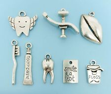 Dental Charm Collection 8 Antique Silver Tone Dentist Charms Pendants
