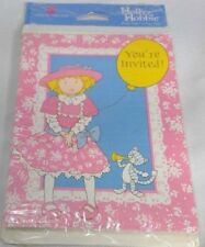 American Greetings Holly Hobbie party invitations 8 cards/envelopes 1989 USA