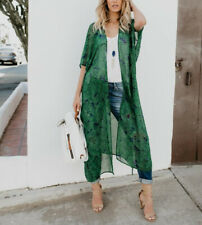 Women Ladies Boho Beach Cover Up Lace Floral Cardigan Chiffon Blouse Tops New