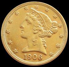 1906 D GOLD UNITED STATES $5 LIBERTY HEAD HALF EAGLE COIN DENVER MINT