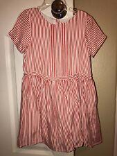 Nwt Auth. Burberry Girls Red/Cream Striped Dress Sz 6Y $215