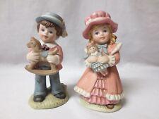 "Homco Set 6"" Figurines Girl Holding Doll & Boy Holding Rocking Horse #1419"