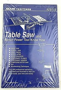 929115 SEARS CRAFTSMAN TABLE SAW POWER TOOL KNOW HOW BOOK SEALED