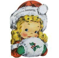 Vintage Hallmark 1948 Diecut Christmas Greeting Card Girl 3-D Pom Santa Hat