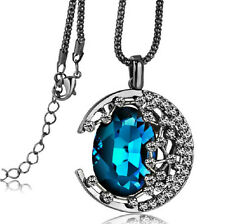 Women's Fashion Jewelry Crystal Moon Retro Long Pendant Sweater Chain Necklace