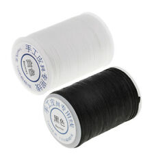 2 Roll Black and White 1mm Waxed Polyester Braided Thread for Leahter Crafts