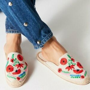 Soludos Embroidered Woven Sand Floral Ibiza Mules Shoes Slip on Flats Size 6.5