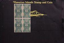 324 HAWAIIAN REVENUES SCOTT #R1 1877  UNUSED BLOCK OF 4  N.H.
