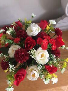 Artificial Flower Graveside Arrangement Red And Cream Handmade
