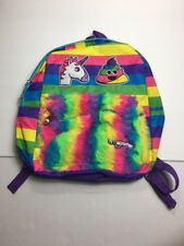Emojination Rainbow Unicorn Poop Emoji Backpack Fuzzy Pocket New
