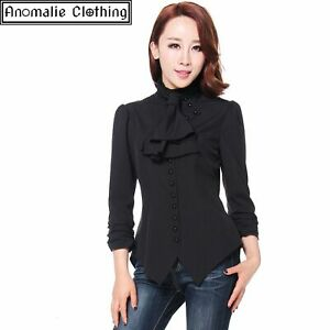 Chic Star Black Steampunk Blouse with Ruched Sleeves Victorian Gothic Lolita Emo
