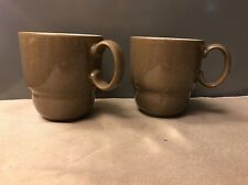 DENBY EVERYDAY CAPPUCCINO Nesting Cups/Mugs - Brown & Cream - England