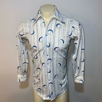 Vtg 60s 70s Circles JCPENNEY Polyester Disco shirt Boogie Nights mod Mens MEDIUM