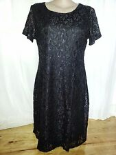 Black LACE sparkle layer overlay dinner party short sleeve SHIFT dress  20 NEW