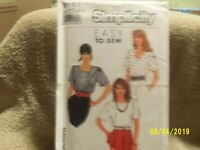 Simplicity Easy TO Sew Misses Pullover Tops 1996