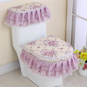 Floral Toilet Seat Cover Closestool Tank Top Covers Zip Lid Pad Bathroom Home