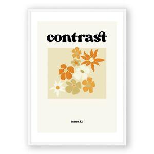 Modern Illustration Print , Retro Flowers Wall Art , Vintage Poster, Calligraphy