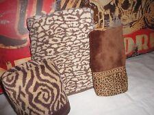 TERRISOL THE ROYAL CO. SHERRY KLINE ANIMAL LEOPARD BROWN CREAM (3PC) TOWEL SET
