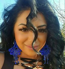 Big Chandelier Royal Blue Post Crystal dangle earrings drag queen beauty pageant