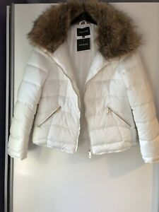 New Look Parisian Cream Padded Jacket With Deep Fur Collar Size 14 BNWT