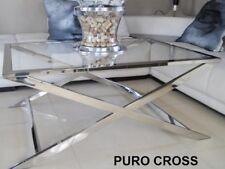 LUXUS Couchtisch Beistelltisch hochglanz polierte Edelstahl Glas GLAMOUR