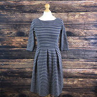 BODEN Libby Nautical Navy Blue White Striped Fit & Flare Dress Size UK 10 R