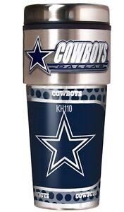 Dallas Cowboys Coffee Mug Travel Tumbler Cup NFL Metallic Logo w/ Emblem