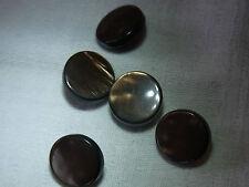 5 boutons plastique marron nacré N26 dia 15mm Vintage 5 plastic buttons Botones