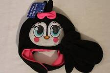 NEW Infant Girls Critter Hat Mittens Set Penguin Soft Fleece Black Cap Ear Flaps