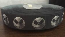 1m Nightmare Before Christmas Jack Halloween Black White Grosgrain Ribbon 22mm