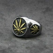 Gold Silver Maple Leaf Jewelry Cool Polishing Fashion Metal Cocktail Ring Gift
