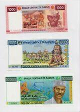 New: Djibouti Banknotes SET:  1000,  2000 , 10000 Francs, P-42 43  45, UNC