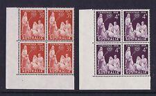 Australian Pre-Decimal Stamps 1958 3 1/2d and 4d Christmas Corner Blocks 4 MNH