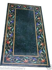 "24""x60"" Green Marble Coffee Dining Table Top Mosaic Pietradura Inlaid Deco H1478"