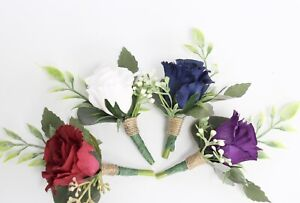 "Pick rose color*rustic Boutonniere""wedding prom homecoming dance marine boho"
