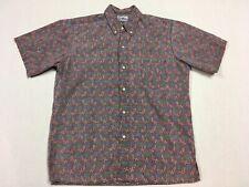 Reyn Spooner Men's Hawaiian Shirt Leaf Pattern Reverse Print Size Medium
