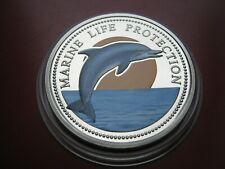 Palau 1998 £1 Dollar Crown-size Coin Marine life Protection - Dolphin