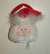Holiday SANTA CLAUS Face Christmas Mini Gift Bag or Purse Zipper Opening